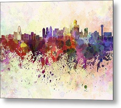 Dallas Skyline In Watercolor Background Metal Print by Pablo Romero