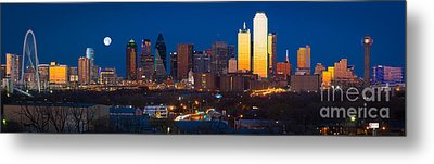 Dallas Skyline Panorama Metal Print by Inge Johnsson