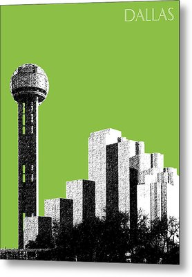 Dallas Skyline Reunion Tower - Olive Metal Print by DB Artist