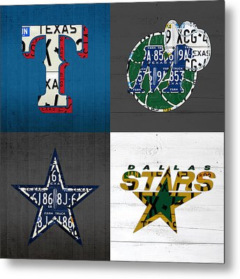 Dallas Sports Fan Recycled Vintage Texas License Plate Art Rangers Mavericks Cowboys Stars Metal Print by Design Turnpike