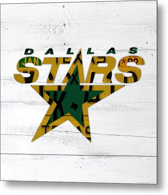 Dallas Stars Hockey Team Retro Logo Vintage Recycled Texas License Plate Art Metal Print by Design Turnpike
