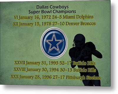 Dallas Texas Cowboys Super Bowl Wins Metal Print by Movie Poster Prints