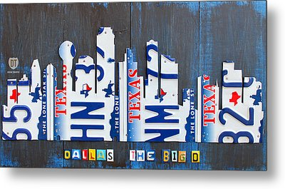 Dallas Texas Skyline License Plate Art By Design Turnpike Metal Print by Design Turnpike
