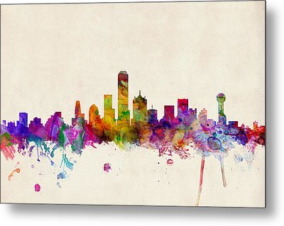 Dallas Texas Skyline Metal Print by Michael Tompsett