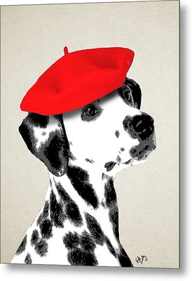 Dalmation With Red Beret Metal Print by Kelly McLaughlan