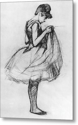 Dancer Adjusting Her Costume And Hitching Up Her Skirt Metal Print by Henri de Toulouse-Lautrec