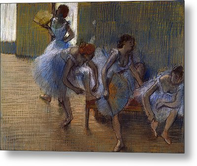Dancers On A Bench, 1898 Metal Print by Edgar Degas