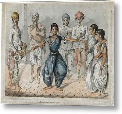 Dancing Girls And Musicians Metal Print by British Library