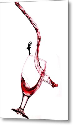 Dancing On A Glass Cup With Splashing Wine Little People On Food Metal Print by Paul Ge
