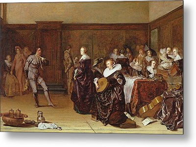 Dancing Party, 17th Century Metal Print by Pieter Codde