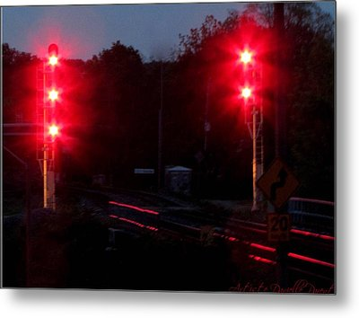 Danger Train Signals On Metal Print by Danielle  Parent