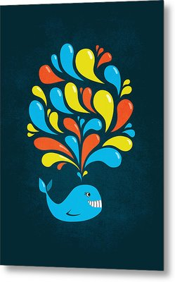 Dark Colorful Splash Happy Cartoon Whale Metal Print by Boriana Giormova