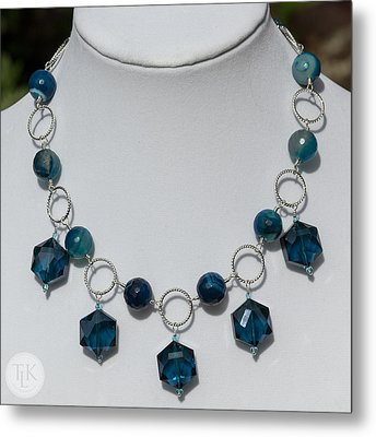 Dark Turquoise Crystal And Faceted Agate Necklace 3676 Metal Print by Teresa Mucha