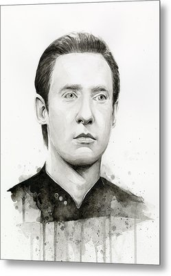 Data Portrait Star Trek Fan Art Watercolor Metal Print by Olga Shvartsur