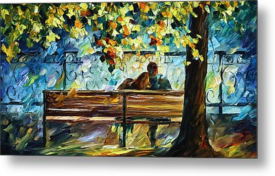 Date On The Bench Metal Print by Leonid Afremov