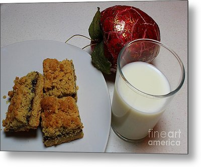 Date Squares - Snack - Dessert - Milk Metal Print by Barbara Griffin