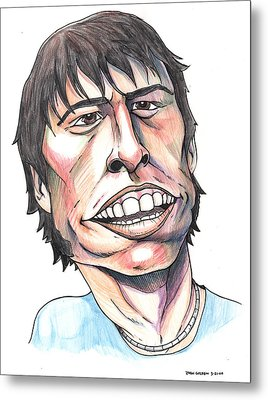 Dave Grohl Caricature Metal Print by John Ashton Golden