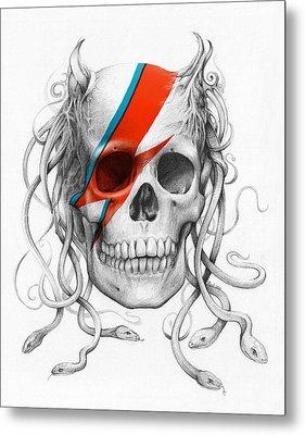 David Bowie Aladdin Sane Medusa Skull Metal Print by Olga Shvartsur