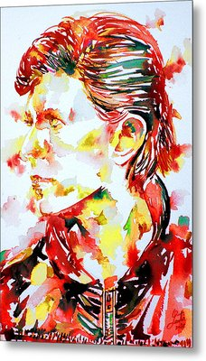 David Bowie Watercolor Portrait.1 Metal Print by Fabrizio Cassetta