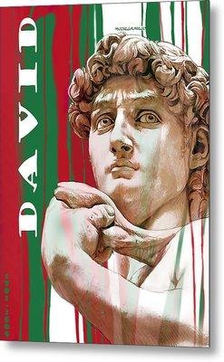 David - Michelangelo - Stylised Modern Drawing Art Sketch  Metal Print by Kim Wang