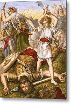 David Slaying Goliath Metal Print by English School