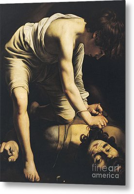 David Victorious Over Goliath Metal Print by Michelangelo Merisi da Caravaggio