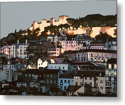 Dawn At St. George Castle Lisbon Metal Print by Linda  Parker