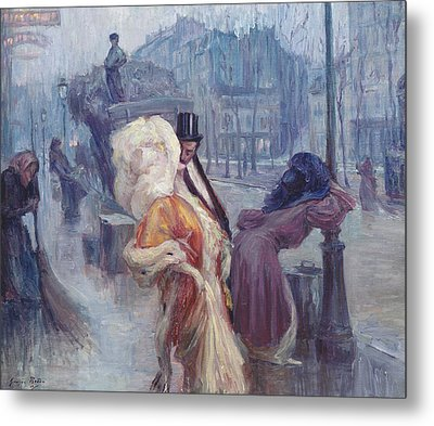 Dawn Leaving The Restaurant In Montmartre Metal Print by Georges Redon