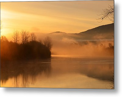 Dawn On The Kootenai River Metal Print by Annie Pflueger