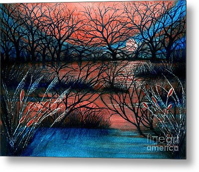 Day Is Done October Sky Metal Print by Janine Riley