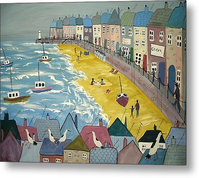 Day On The Beach Metal Print by Trudy Kepke