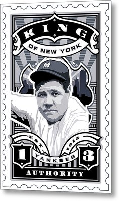 Dcla Babe Ruth Kings Of New York Stamp Artwork Metal Print by David Cook Los Angeles