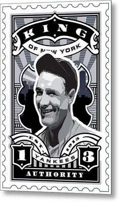 Dcla Lou Gehrig Kings Of New York Stamp Artwork Metal Print by David Cook Los Angeles