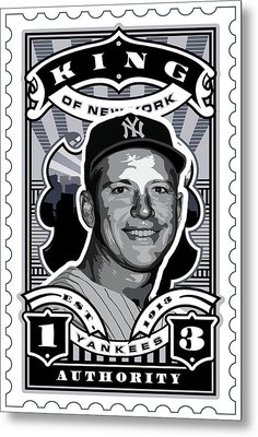 Dcla Mickey Mantle Kings Of New York Stamp Artwork Metal Print by David Cook Los Angeles