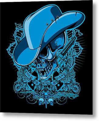 Dcla Skull Cowboy Cold Dead Hand 2 Metal Print by David Cook Los Angeles