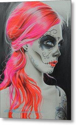 Sugar Skull - ' De Rerum Natura ' Metal Print by Christian Chapman Art