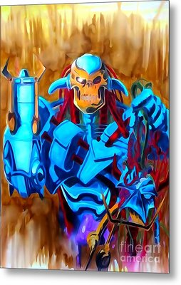 Death's Head II Watercolor Edition Metal Print by Justin Moore