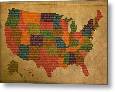 Declaration Of Independence Word Map Of The United States Of America Metal Print by Design Turnpike