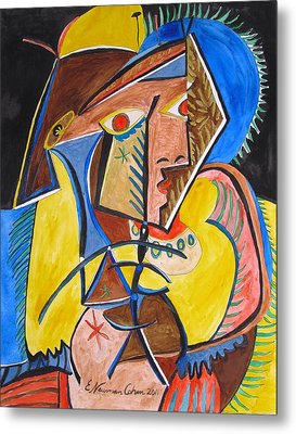 Deconstructing Picasso  - A Sexy Woman Metal Print by Esther Newman-Cohen