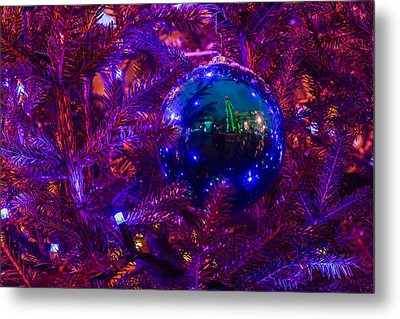 Decoration Ball On A Christmas Tree Illuminated With Red Light - Featured 3 Metal Print by Alexander Senin
