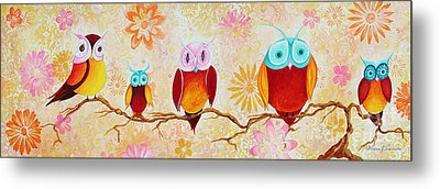 Decorative Whimsical Owl Owls Chi Omega Painting By Megan Duncanson Metal Print by Megan Duncanson