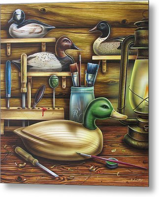 Decoy Carving Table Metal Print by JQ Licensing