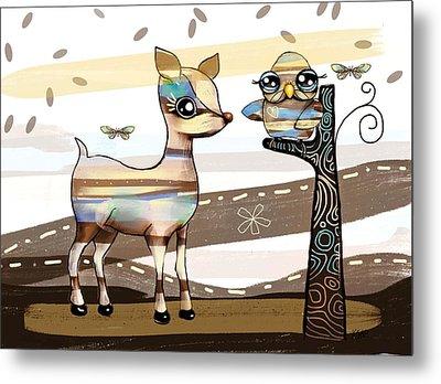 Deer And Owl Metal Print by Karin Taylor