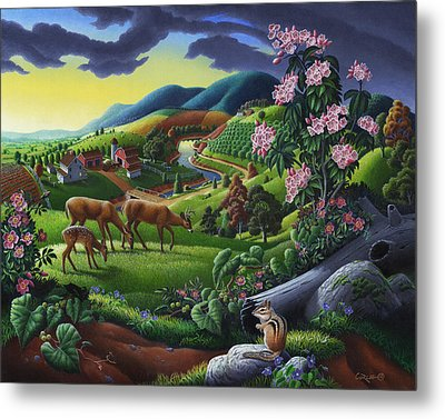 Deer Chipmunk Summer Appalachian Folk Art - Rural Country Farm Landscape - Americana  Metal Print by Walt Curlee