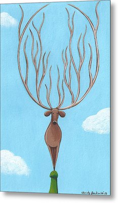 Deer Nursery Art Metal Print by Christy Beckwith