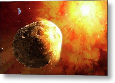 Deflecting A Near-earth Asteroid Metal Print by Mark Garlick