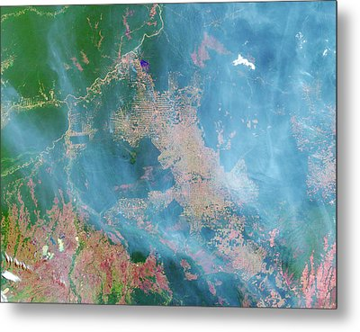 Deforestation In The Amazon Metal Print by Nasa Earth Observatory