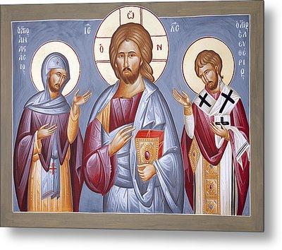 Deisis Jesus Christ St Anastasios And St Eleftherios Metal Print by Julia Bridget Hayes
