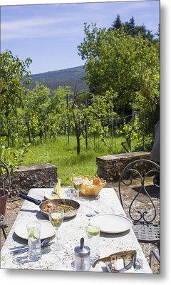 Delicious Italian Lunch In Garden Metal Print by Patricia Hofmeester