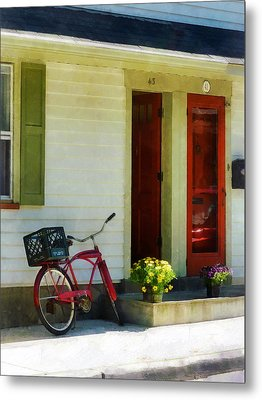 Delivery Bicycle By Two Red Doors Metal Print by Susan Savad